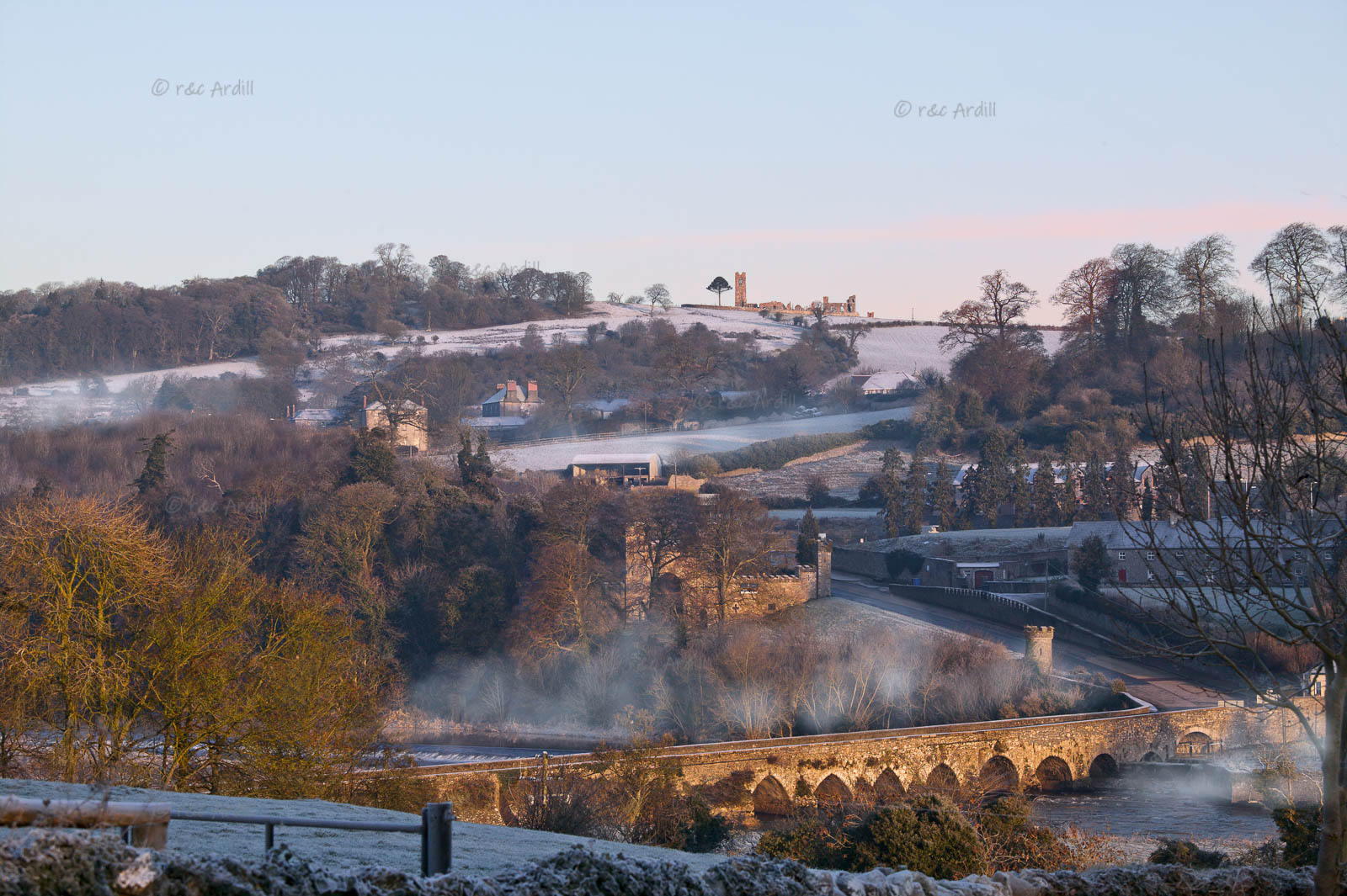 Photo of Meath Slane Bridge and Hill Winter - W40704